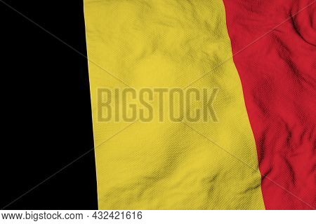 Full Frame Close-up On A Waving Belgian Flag In 3d Rendering.