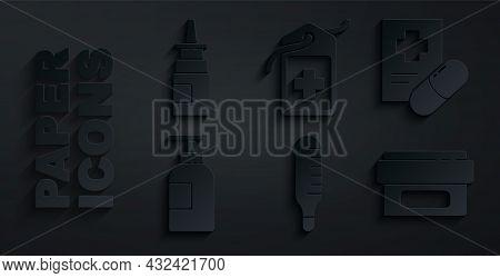 Set Medical Thermometer, Prescription, Hand Sanitizer Bottle, Ointment Cream Tube Medicine, Cross Ho