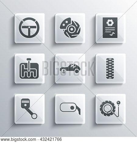 Set Car Rearview Mirror, Tire Pressure Gauge, Tire Wheel, Broken Car, Engine Piston, Gear Shifter, S