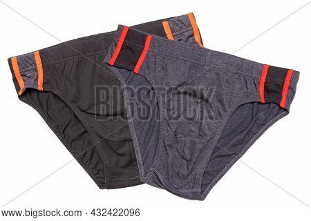 Underware Isolated. Close-up Of Two Black And Gray Male Underware Or Underpant Isolated On A White B