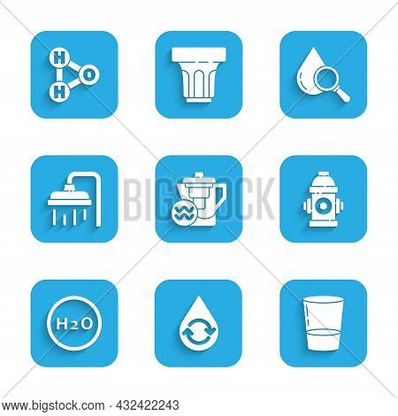 Set Water Jug With A Filter, Recycle Clean Aqua, Glass Water, Fire Hydrant, Chemical Formula For H2o