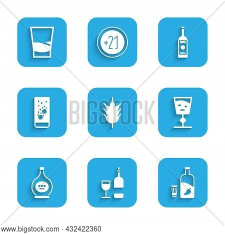 Set Hop, Wine Bottle With Glass, Vodka Pepper And, Bottle Of Cognac Or Brandy, Effervescent Tablets