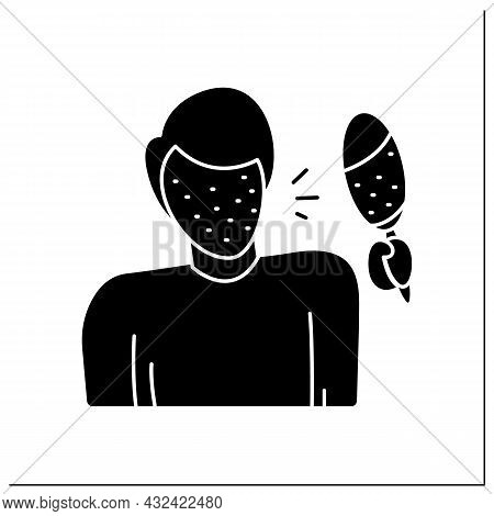 Rash Glyph Icon. Male Avatar, Covered In Pimples Looking In Mirror Shocked.skin Problem, Allergic Re