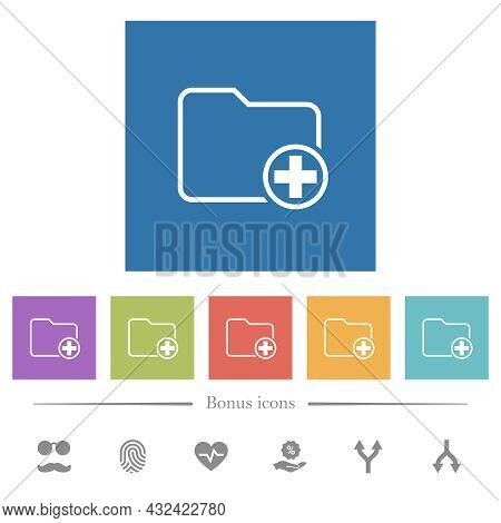 Add New Directory Flat White Icons In Square Backgrounds. 6 Bonus Icons Included.