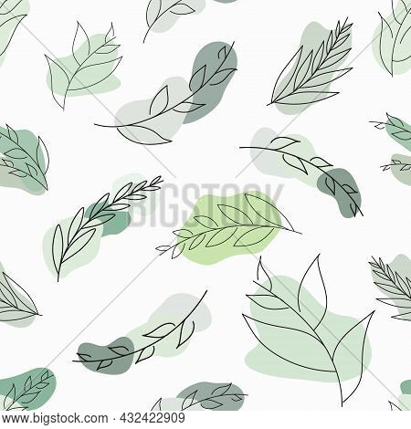 Seamless Vector Pattern With Leaves And Green Spots. Pattern With Minimal Modern Leaves. Doodle Leav