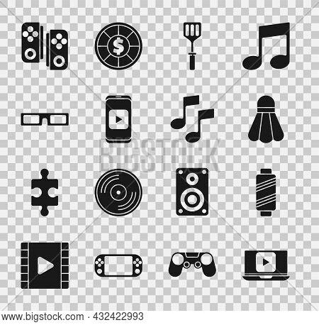 Set Online Play Video, Sewing Thread On Spool, Badminton Shuttlecock, Spatula, Cinema Glasses, Gamep
