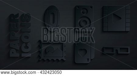 Set Playing Cards, Video, Postal Stamp, Cinema Glasses, Stereo Speaker And American Football Ball Ic