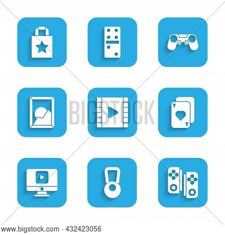 Set Play Video, Kettlebell, Gamepad, Playing Cards, Online Play Video, Picture Landscape, And Paper