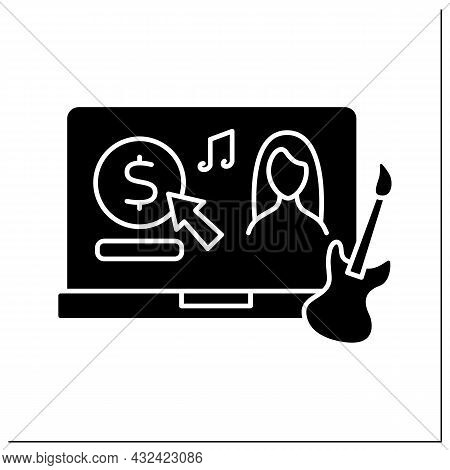 Donation Glyph Icon. Online Contributions Of Talented Musicians. Money For Improving. Digital Cash F