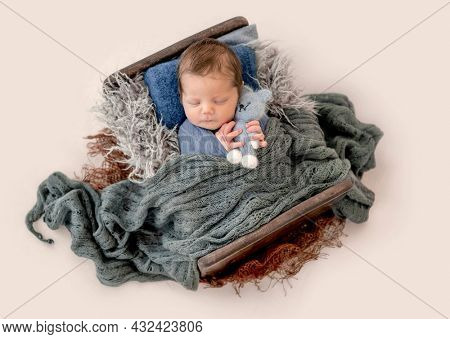 Newborn baby boy sleeping in tiny bed in knitted blanket and hugging toy. Infant kid studio portrait with decoration