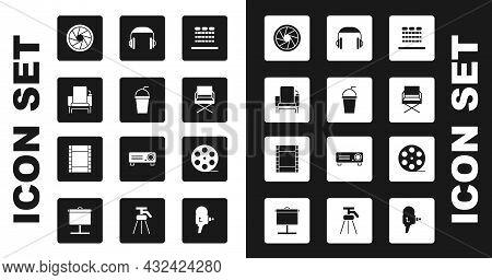 Set Cinema Auditorium With Seats, Paper Glass Straw, Chair, Camera Shutter, Director Movie, Headphon