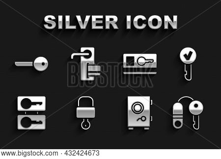 Set Lock And Key, Key, House With, Safe, Casting Keys, Card, And Digital Door Lock Icon. Vector
