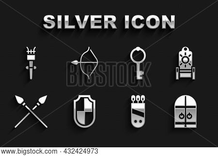 Set Shield, Medieval Throne, Castle Gate, Quiver With Arrows, Crossed Medieval Spears, Old Key, Torc