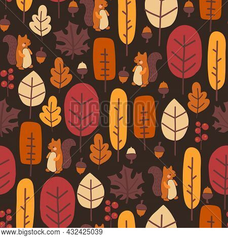 Autumn Nature Seamless Vector Pattern Cute Autumn Forest, Squirrel, Leaves, Trees, Nuts, Acorns. Tha