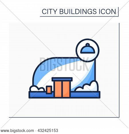Restaurant Color Icon. Modern Architecture City Building With Food. Concept Of Fashionable Diner Pla