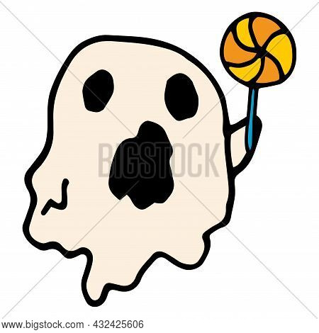 A Vector Ghost With A Lollipop. A Cartoon Ghost With Black Holes In His Eyes And Mouth, White Color