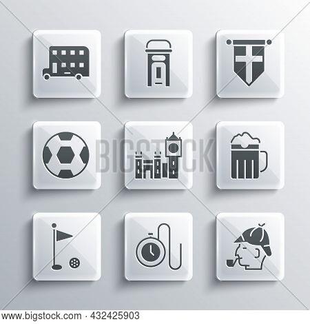 Set Watch With A Chain, Sherlock Holmes, Wooden Beer Mug, Big Ben Tower, Golf Flag, Football Ball, D