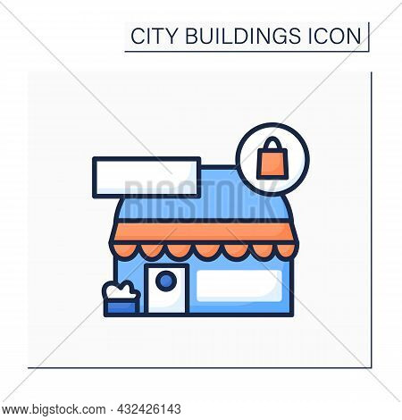 Shop Color Icon. Local Grocery Or Boutique Building With Shopping Bag And Copy-space Sign. Retail Co