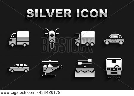 Set Helicopter, Taxi Car, Bus, Boat With Oars, Hatchback, Delivery Cargo Truck, And Scooter Icon. Ve