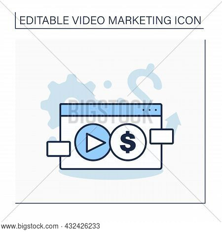 Commercial Line Icon. Organizations And Activities Concerned With Making Money Or Profits.video Mark