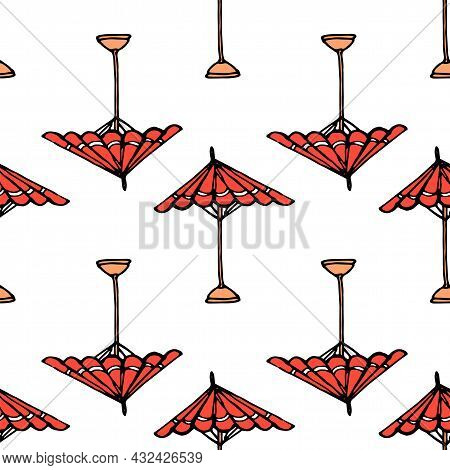 Vector Beach Red Umbrella. Hand-drawn Doodle Style Red Open Umbrella On Stand, Red Color With White