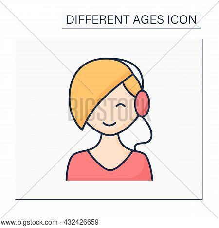 Times Of Life Color Icon. Puberty Period. Young Girl Grow Up. Teenager. Different Ages Concept. Isol