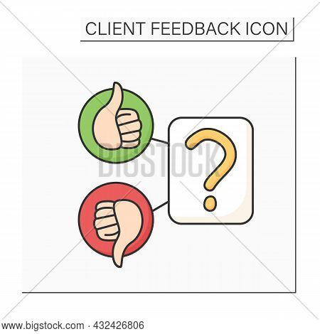 Consumer Survey Color Icon. Question, Like And Dislike. Marketing Satisfaction Research And Client F