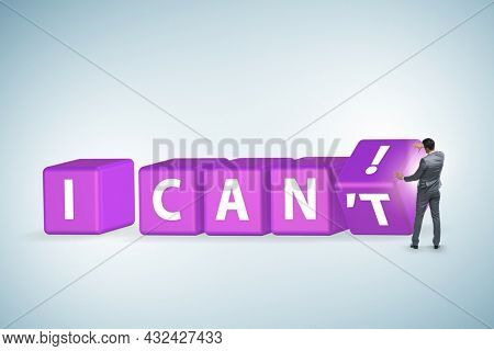 Determination concept with rotating cubes and businessman