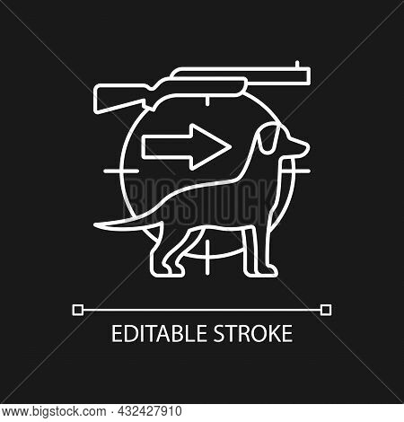 Dog Handler White Linear Icon For Dark Theme. Breeds For Catching Preys. Retriever And Hound. Thin L