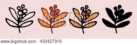 Vector Set Of Seamless Templates Made Of Twigs With Berries. A Set Of Horizontal Stripes, Borders, M