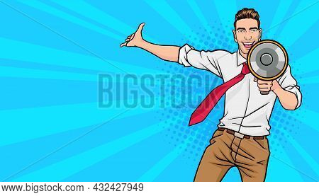 Business Man Screaming With A Megaphone.business Man Holding  Megaphone.office Worker Spread His Han