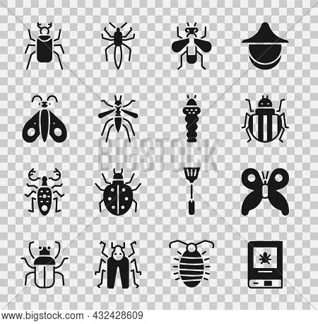 Set Book About Insect, Butterfly, Colorado Beetle, Insect, Mosquito, Beetle Bug And Larva Icon. Vect