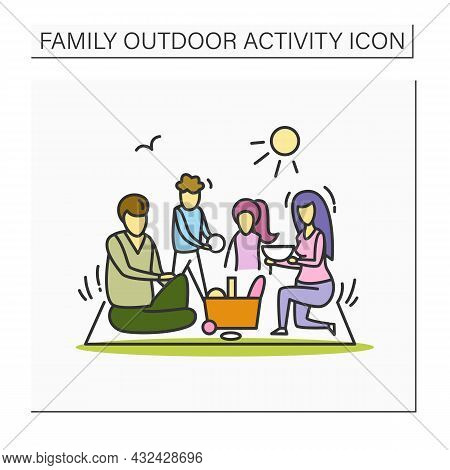 Family Meal Outside Color Icon. Family Of Parents And Two Kids On Picnic In Park.mother, Father And