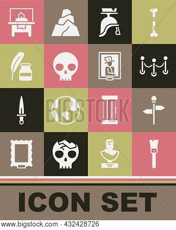 Set Paint Brush, Road Traffic Signpost, Rope Barrier, Roman Army Helmet, Human Skull, Feather And In
