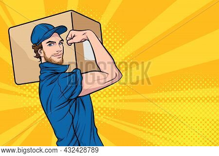 Delivery Man Carrying Big Heavy Carton Box On Shoulder We Can Do It In Retro Vintage Pop Art Comic S