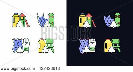 Recycling For Sustainability Light And Dark Theme Rgb Color Icons Set. Fishing Gear Reuse. Plastic L