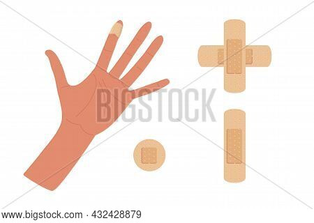 Physical Injury. First Aid For Cuts. Dressing Patch Set. Hand With Injured Bandaged Index Finger. Ad