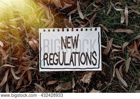 Hand Writing Sign New Regulations. Concept Meaning Rules Made By A Government Or Authority In Order