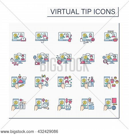 Virtual Tips Color Icons Set. Online Contributions In Different Services. Online Tips For Bakery, Ci