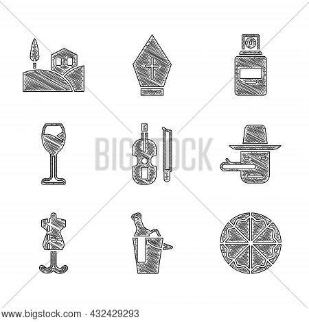Set Violin, Bottle Of Wine Bucket, Pizza, Pinocchio, Mannequin, Wine Glass, Perfume And Village Land