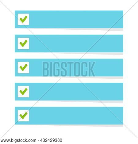 Vector To Do List. Lines With Check Boxes. Checklist For Note.