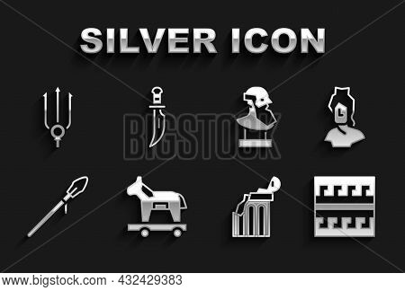 Set Trojan Horse, Ancient Bust Sculpture, Greek Pattern, Broken Ancient Column, Medieval Spear, Nept