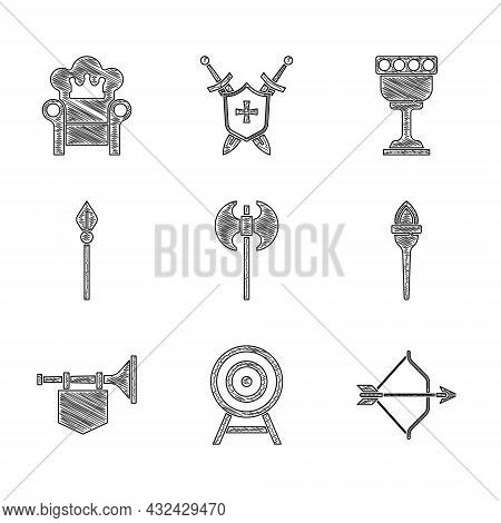 Set Medieval Axe, Target With Arrow, Bow And, Torch Flame, Trumpet Flag, Spear, Goblet And Throne Ic