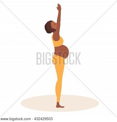 Palm Tree Pose. Pregnant African American Woman Doing Yoga. Woman In Sportswear Doing Exercises On M