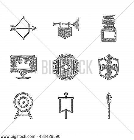 Set Round Wooden Shield, Medieval Flag, Spear, Shield, Target With Arrow, Location King Crown, Poiso