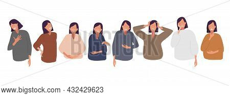 Different Types Of Pain. Collection Of Unhappy People Suffering Chest Pain, Back Pain, Abdominal, He