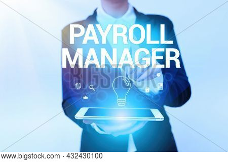 Text Sign Showing Payroll Manager. Business Overview Maintains Payroll Information By Designing Syst