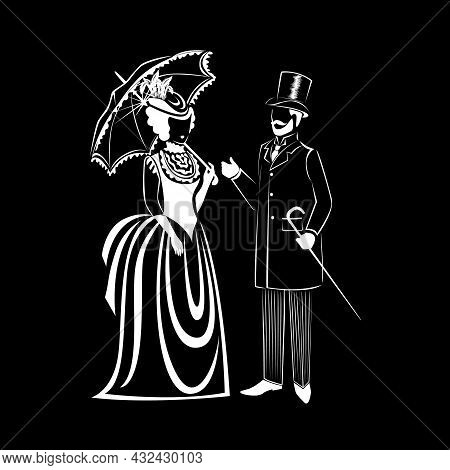 Beautiful Couple In Retro Clothes Of The 19th Century. Vector Silhouette Of A Man And A Woman In Vin