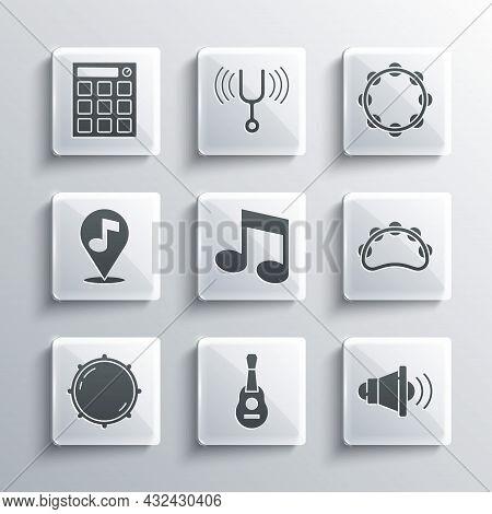 Set Guitar, Speaker Volume, Tambourine, Music Note, Tone, Dial Knob Level, Location Musical, Drum Ma