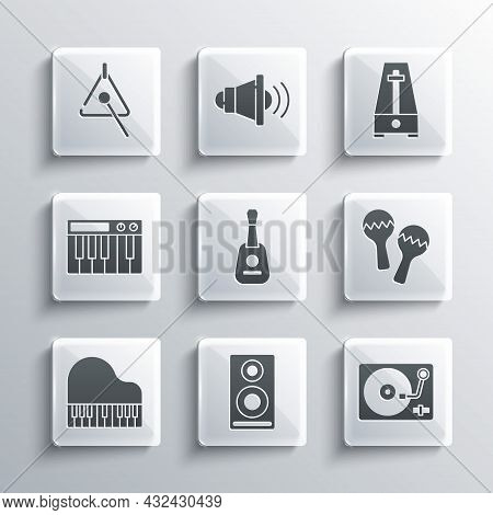 Set Stereo Speaker, Vinyl Player With Vinyl Disk, Maracas, Guitar, Grand Piano, Music Synthesizer, T